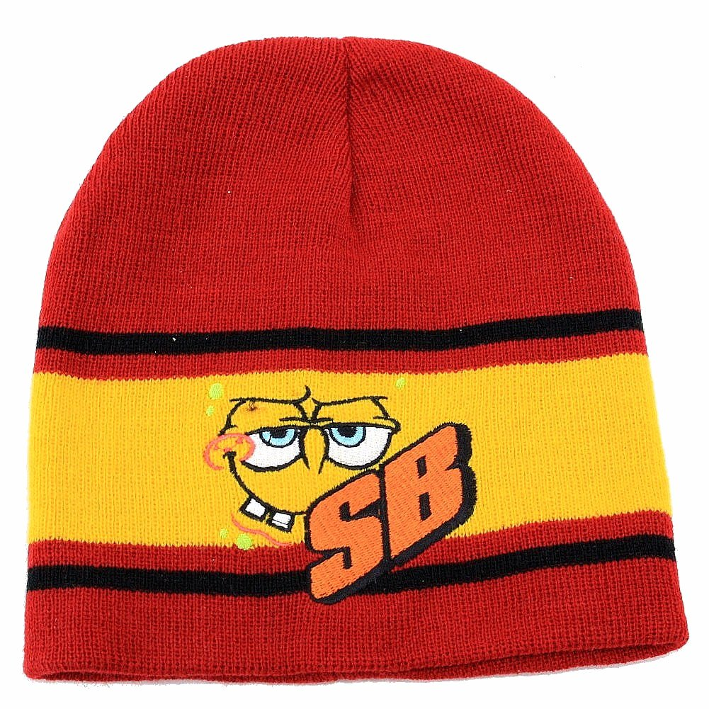 Image of Nickelodeon Spongebob Squarepants Knit Beanie Hat & Gloves Set Sz. 4 7 - Red - 4 7