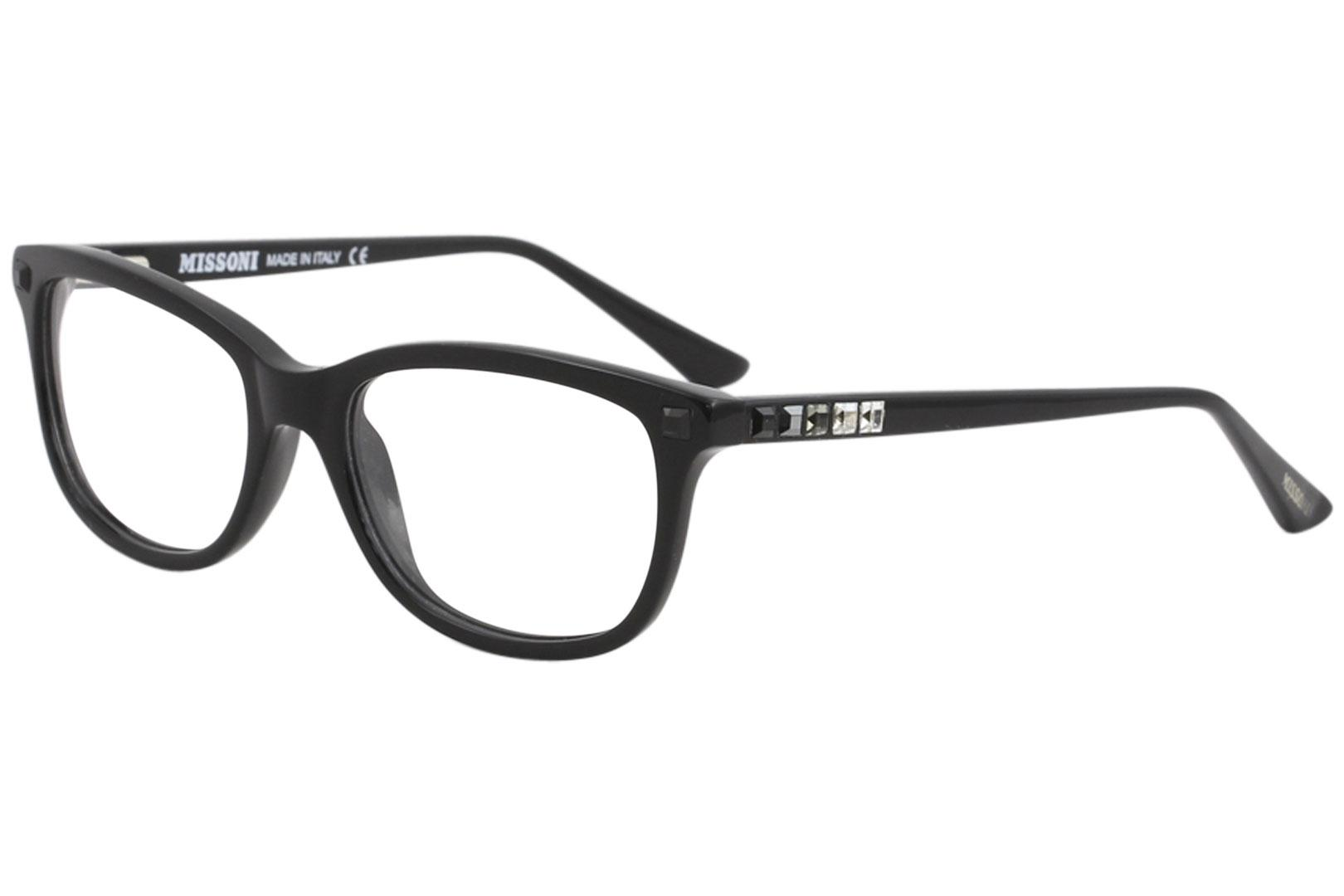 Image of Missoni Women's Eyeglasses MI283V MI/283/V Full Rim Optical Frame - Black w/Crystal Accents   03 - Lens 52 Bridge 17 Temple 135mm