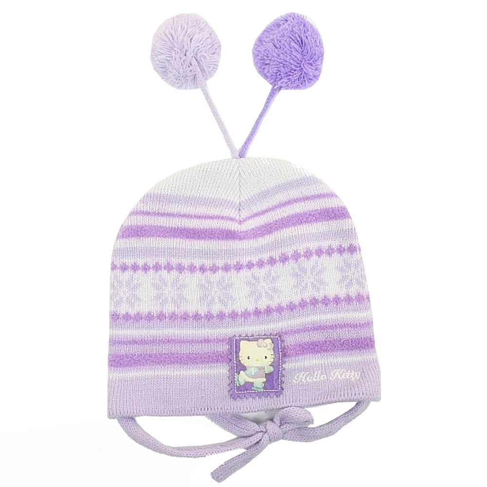 Image of Hello Kitty Girl's Fleece Winter Hat & Mitten 2 pc Sz. 2T 4T - Purple - 2T 4T