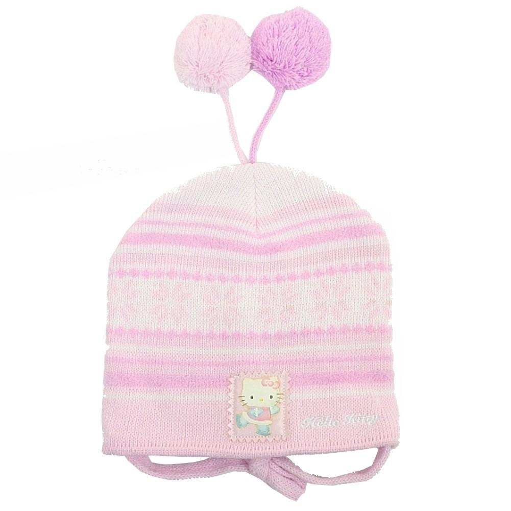 Image of Hello Kitty Girl's Fleece Winter Hat & Mitten 2 pc Sz. 2T 4T - Pink - 2T 4T