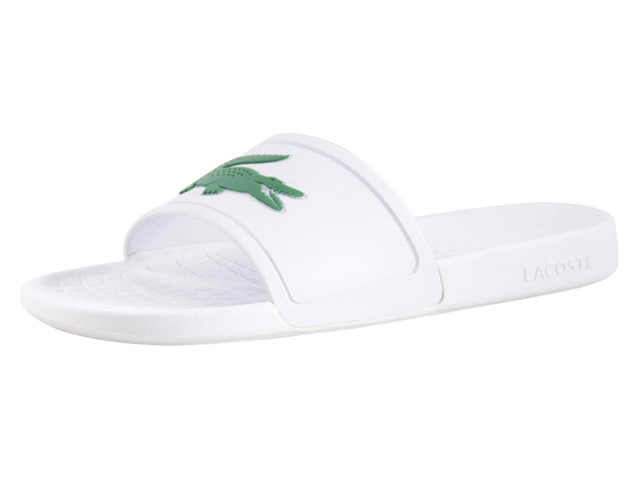 d8eb193fb07b Lacoste Men s Fraisier-318 White Green Slides Sandals Shoes