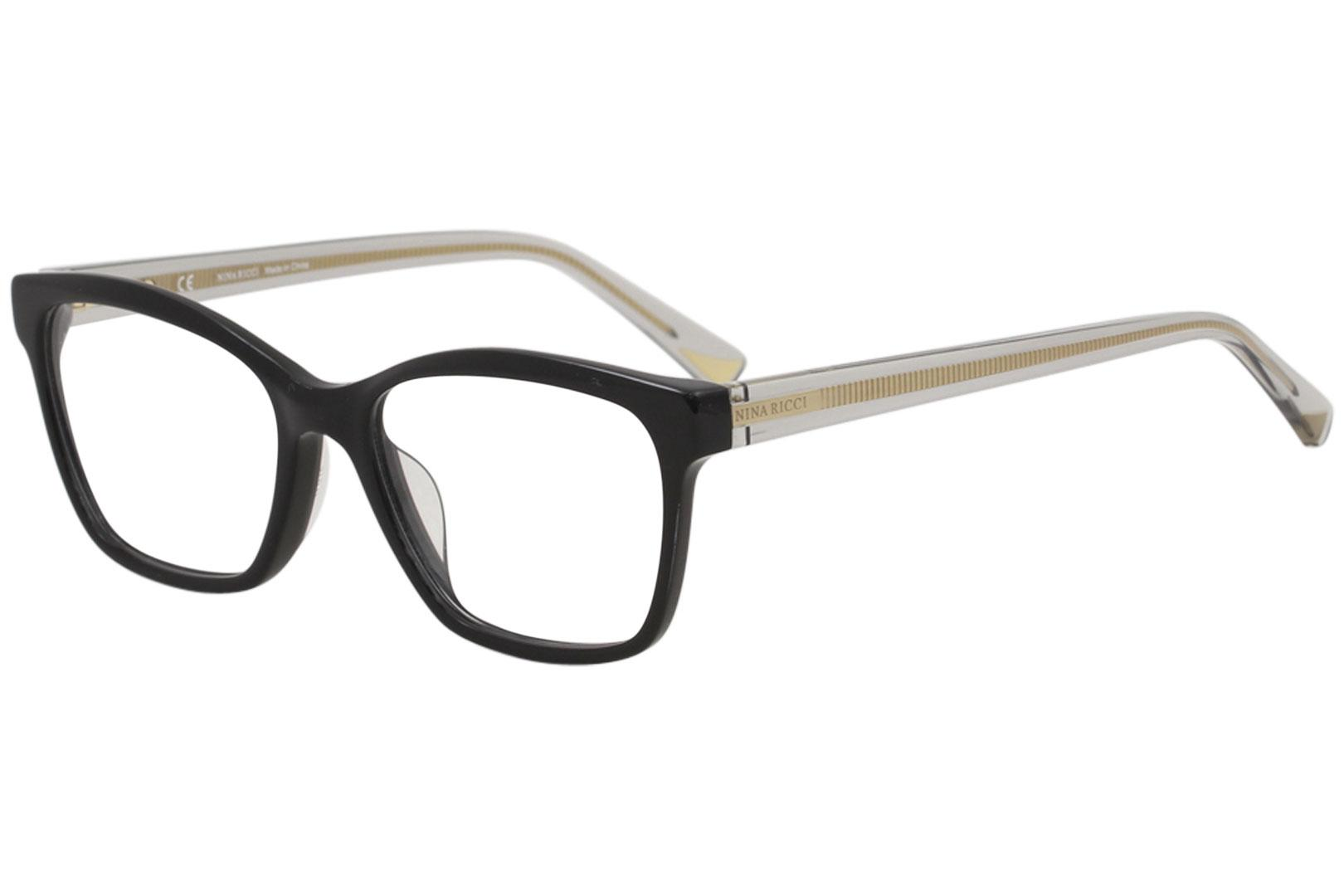 Image of Nina Ricci Eyeglasses VNR071 VNR/071 0700 Black Full Rim Optical Frame 51mm - Shiny Black   0700 - Lens 51 Bridge 17 Temple 140mm