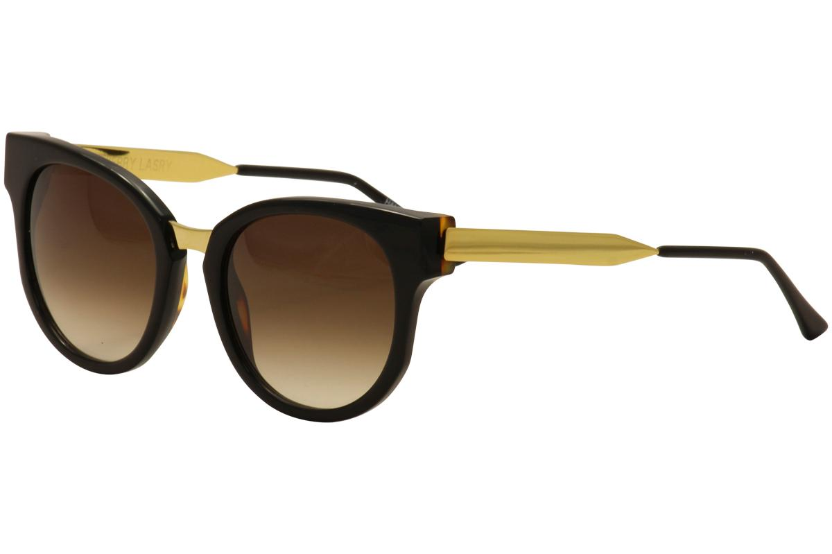 Image of Thierry Lasry Women's Affinity Fashion Cateye Sunglasses - Black Gold/Brown Gradient   101 - Lens 54 Bridge 18 Temple 140mm