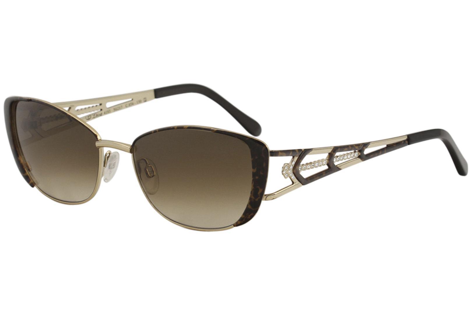 Image of Diva Women's 4193 Fashion Rectangle Sunglasses - Gold - Lens 56 Bridge 17 Temple 130mm