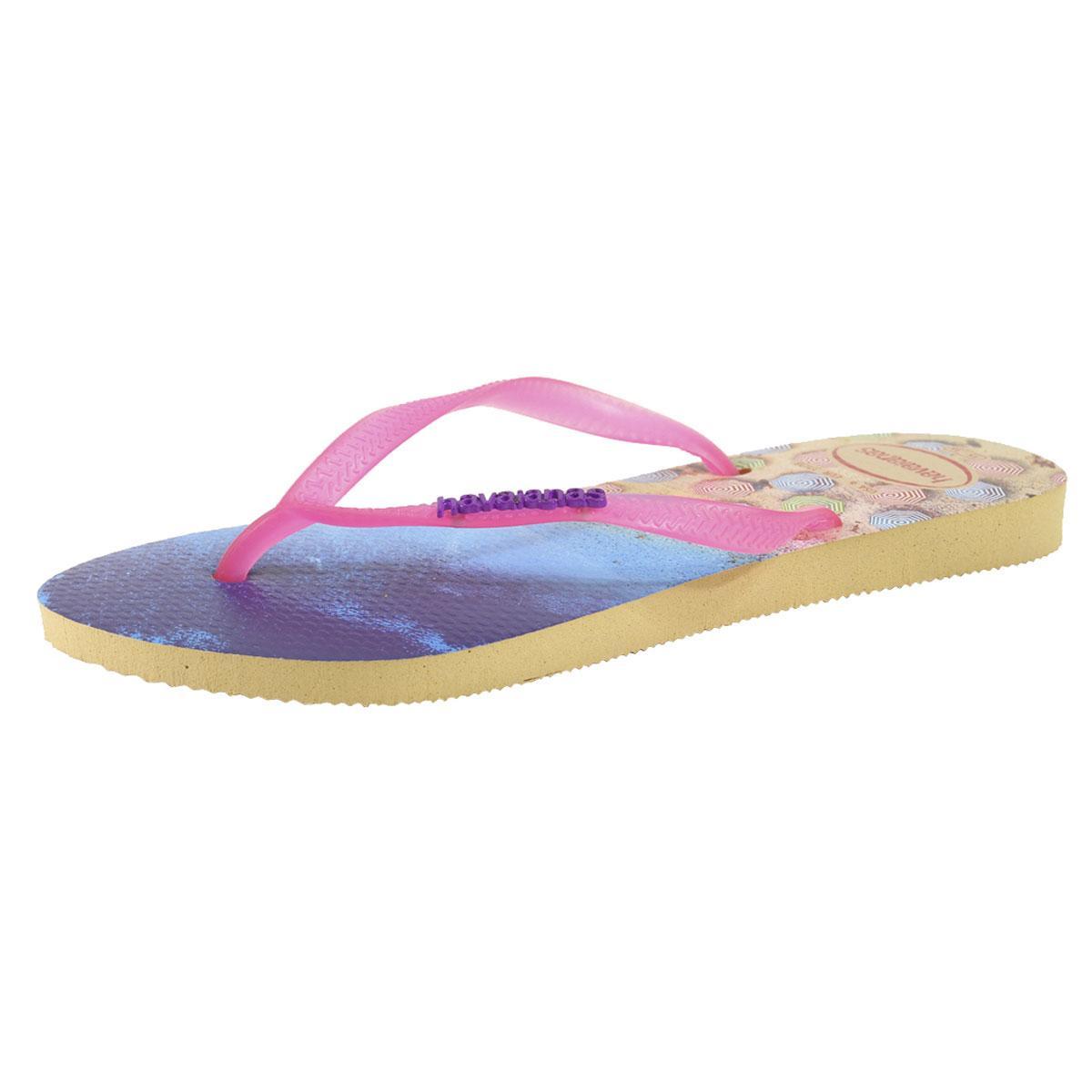 Image of Havainas Women's Slim Paisage Flip Flops Sandals Shoes - Ivory - 7 8 B(M) US