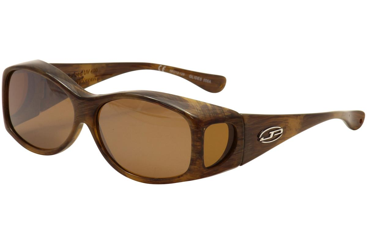 Image of Jonathan Paul Glides G 006A 006/A X Small Fitovers Polarized Sunglasses - Brushed Horn/Amber Mirror Polarized - Lens 58 Bridge 12 Temple 125mm