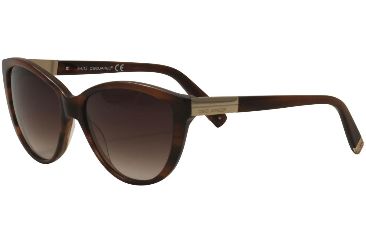 Image of Dsquared2 Women's DQ0112 DQ/0112 Cat Eye Sunglasses - Light Brown Rose Gold/Brown Gradient   47F - Lens 58 Bridge 15 Temple 135mm