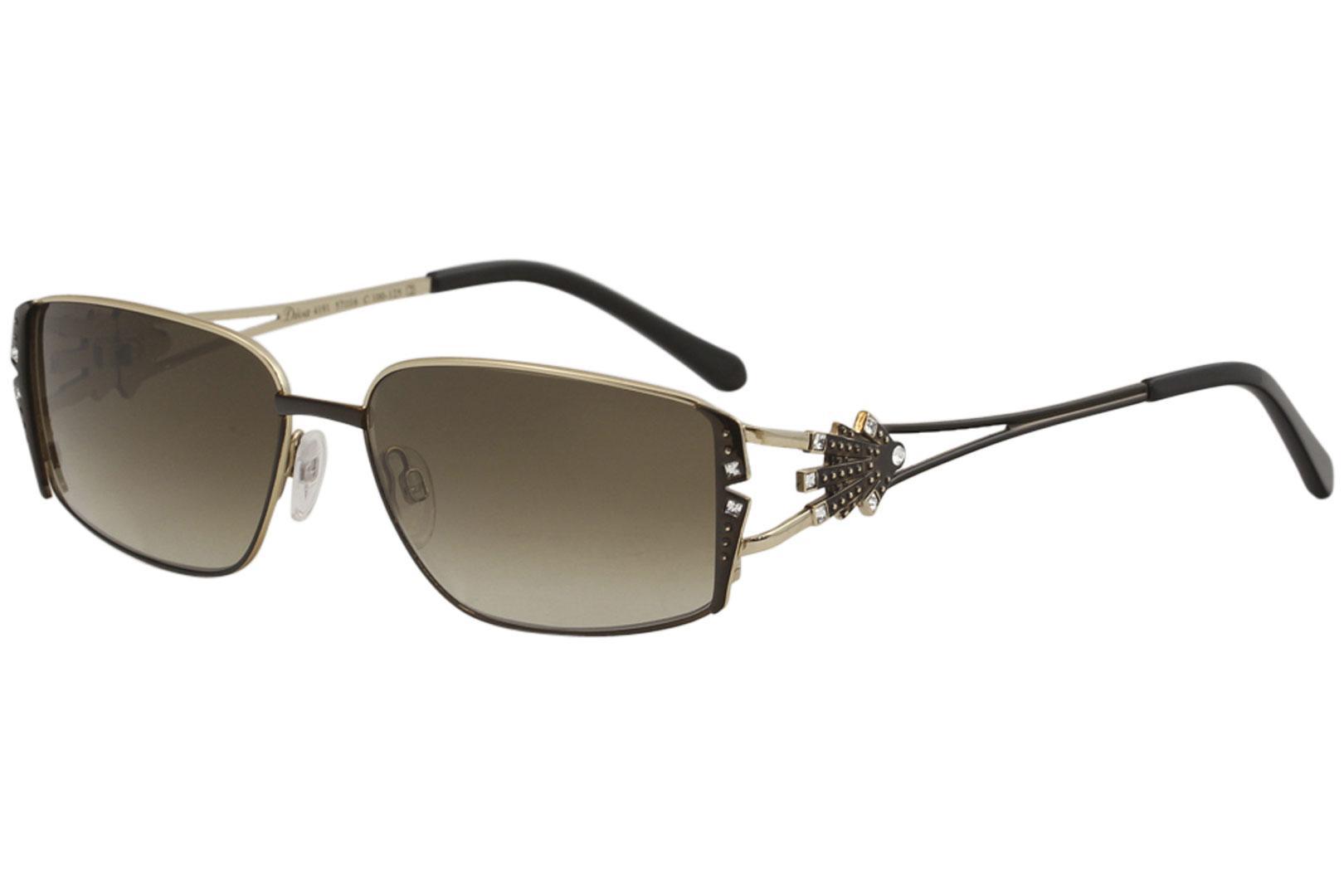 Image of Diva Women's 4191 Fashion Rectangle Sunglasses - Brown Gold/Brown Gradient   100 - Lens 57 Bridge 16 Temple 125mm