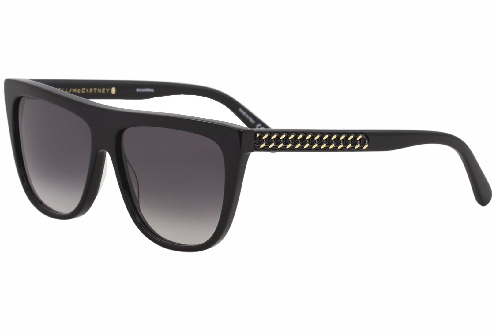 Image of Stella McCartney Falabella SC0149S SC/0149/S 001 Black Square Sunglasses 56mm - Black/Gray Gradient   001 - Lens 56 Bridge 14 Temple 145mm