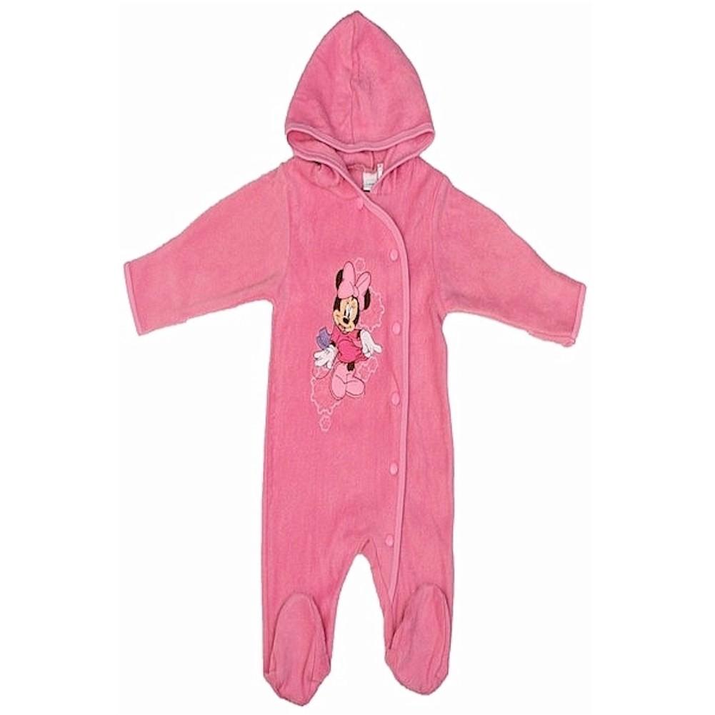 Image of Disney Minnie Mouse Newborn Infant Girl's Pink Polar Fleece Bodysuit - Pink - 6 9 Months