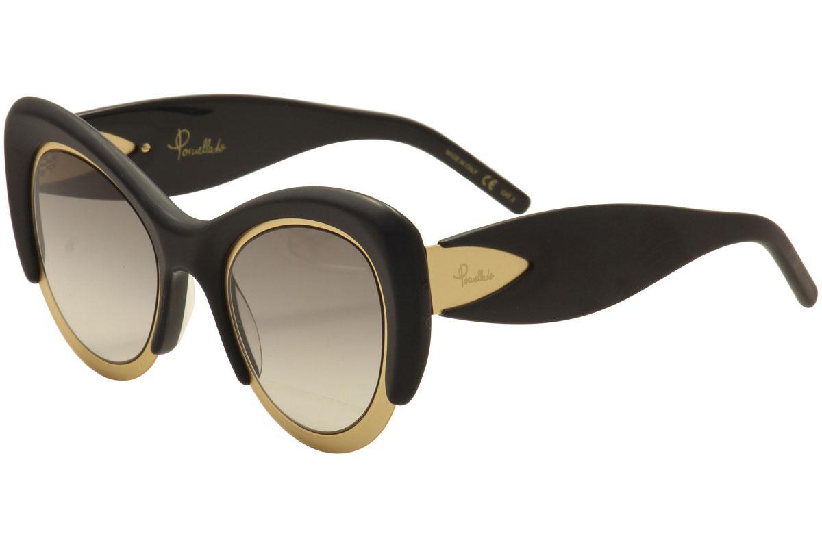 Image of Pomellato Women's PM0010S PM/0010/S Cat Eye Fashion Sunglasses - Matte Black Gold/Grey Gradient    001  - Lens 48 Bridge 24 Temple 140mm