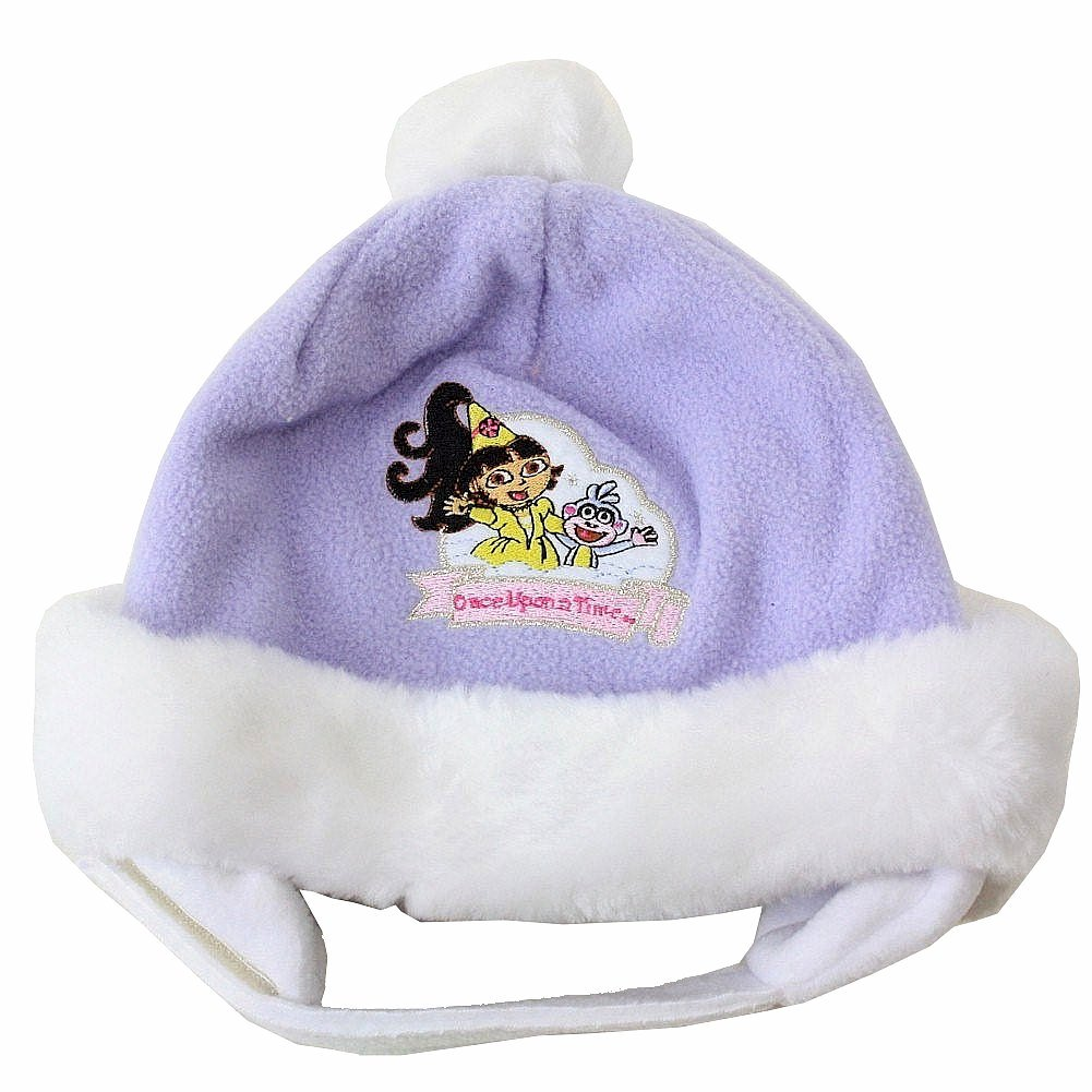 Image of Dora The Explorer Girls Toddler Fairytale Adventure Hat & Mitten Set - Purple - 2 4T