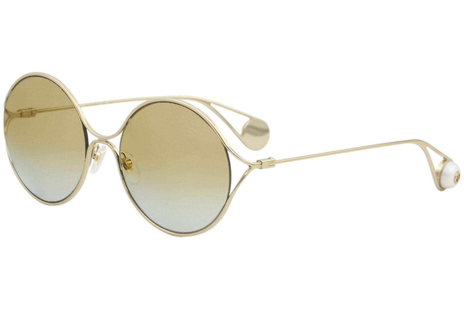 587a4c1b96 Gucci Women s GG0253S GG 0253 S 005 Gold Multicolor Round Sunglasses ...