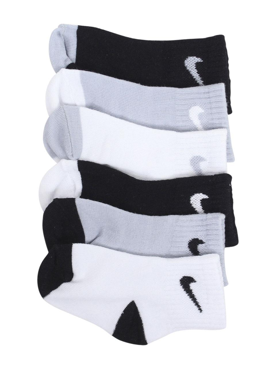 Image of Nike Infant/Toddler Boy's 6 Pairs Logo Pack Socks - Black/Wolf Grey Assorted - 12 24 Months