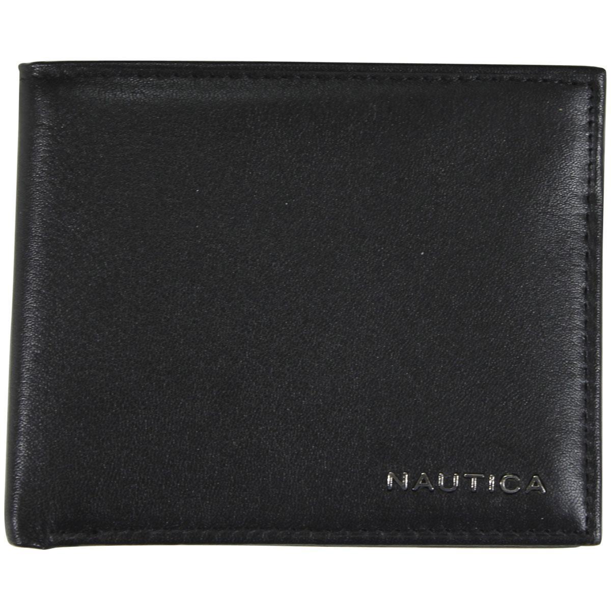Nautica Men's Weatherly Genuine Leather Passcase Bi-Fold Wallet