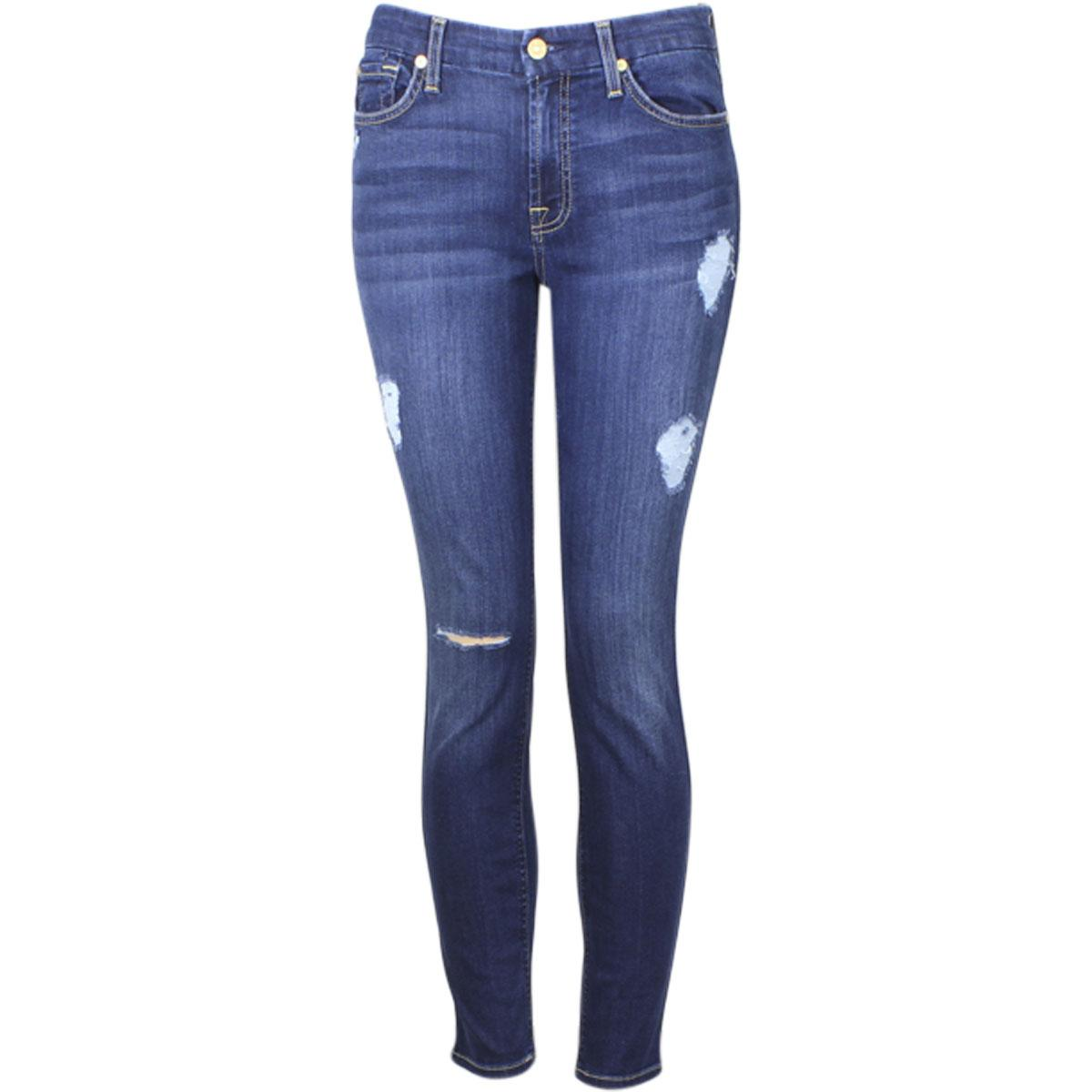 Image of 7 For All Mankind Women's Ankle Skinny With Destroy (B)Air Denim Cropped Jeans - Duchess - 27 (3/4)