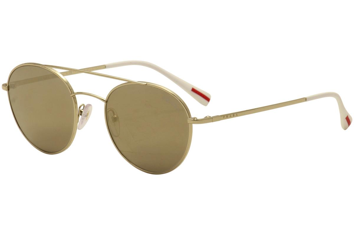 Image of Prada Linea Rossa Men's PS 51SS PS 51/SS Fashion Sunglasses - Pale Gold White/Light Brown Gold Mirror   ZVN 1C0  - Lens 54 Bridge 20 B 49.1 ED 56.8 Temple 140mm