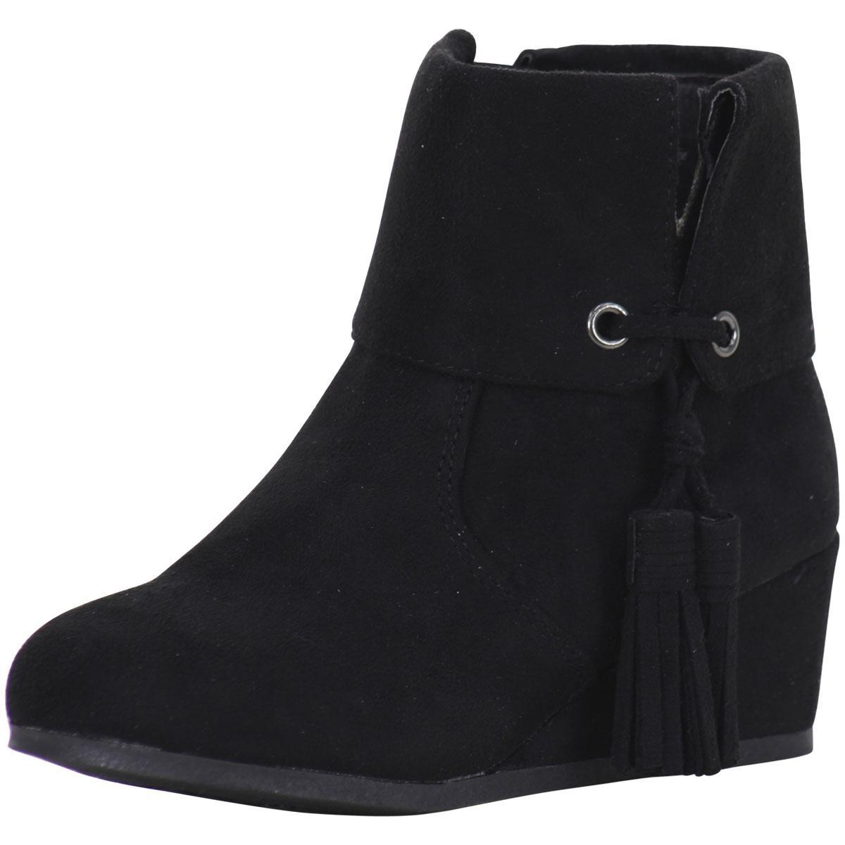Image of Sugar Little/Big Girl's BonBon Wedge Heel Ankle Boots Shoes - Black - 12 M US Little Kid