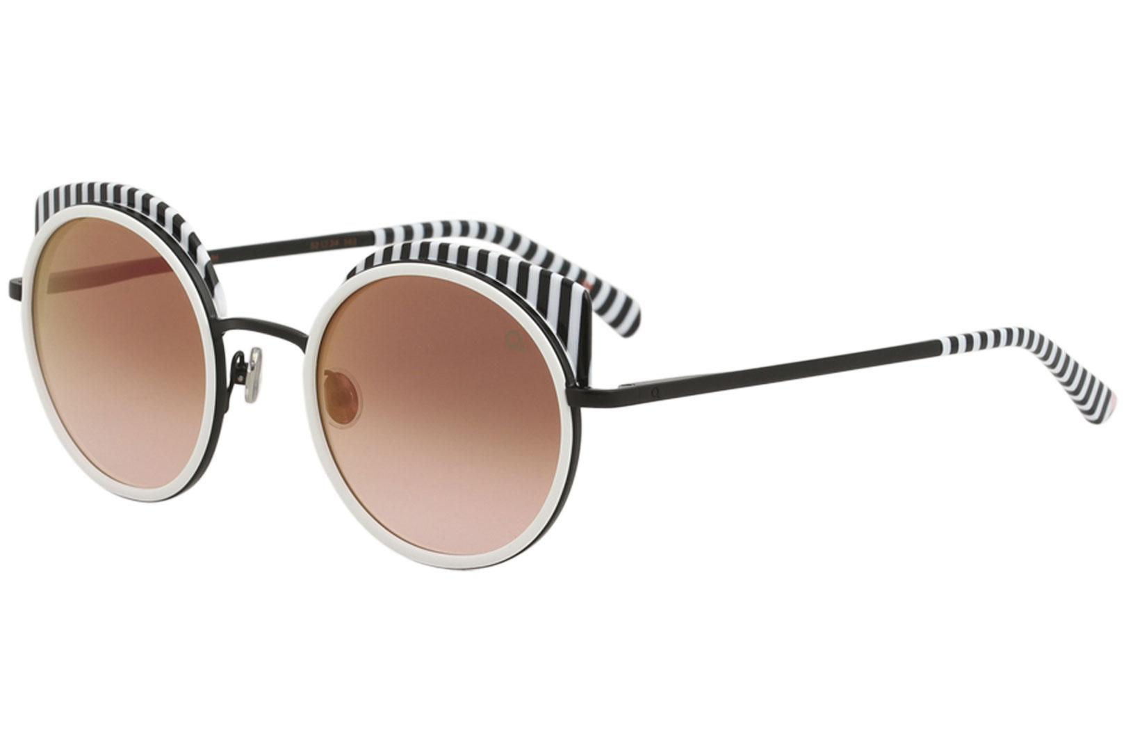 Image of Etnia Barcelona Spiga Fashion Round Sunglasses - Black White/Pink Gradient   BKWH - Lens 52 Bridge 24 Temple 143mm