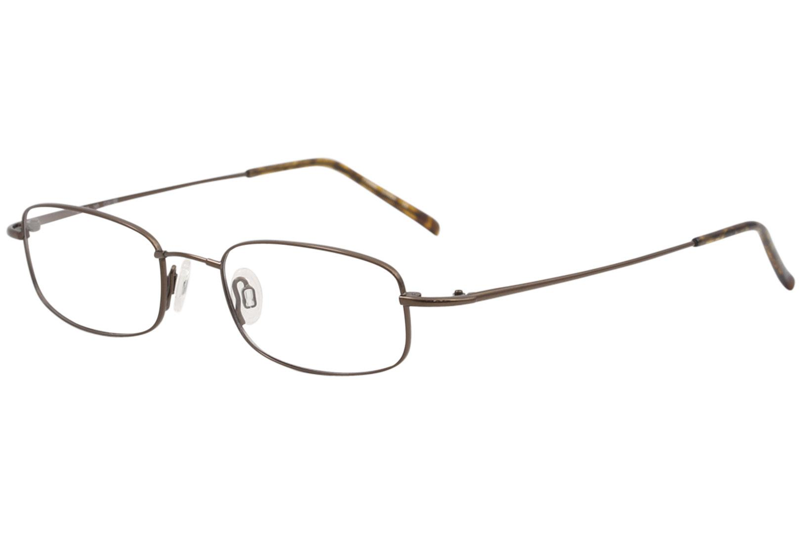 Image of Flexon Men's Eyeglasses 603 218 Coffee Full Rim Optical Frame 51mm - Coffee   218 - Lens 51 Bridge 19 Temple 145mm