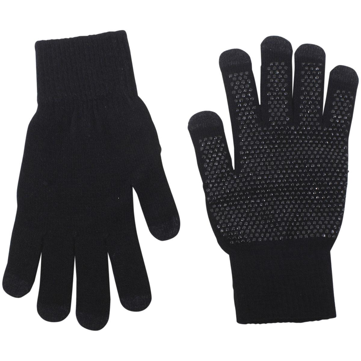 Image of Dorfman Pacific Men's Touchscreen Knit Gloves - Black - One Size Fits Most