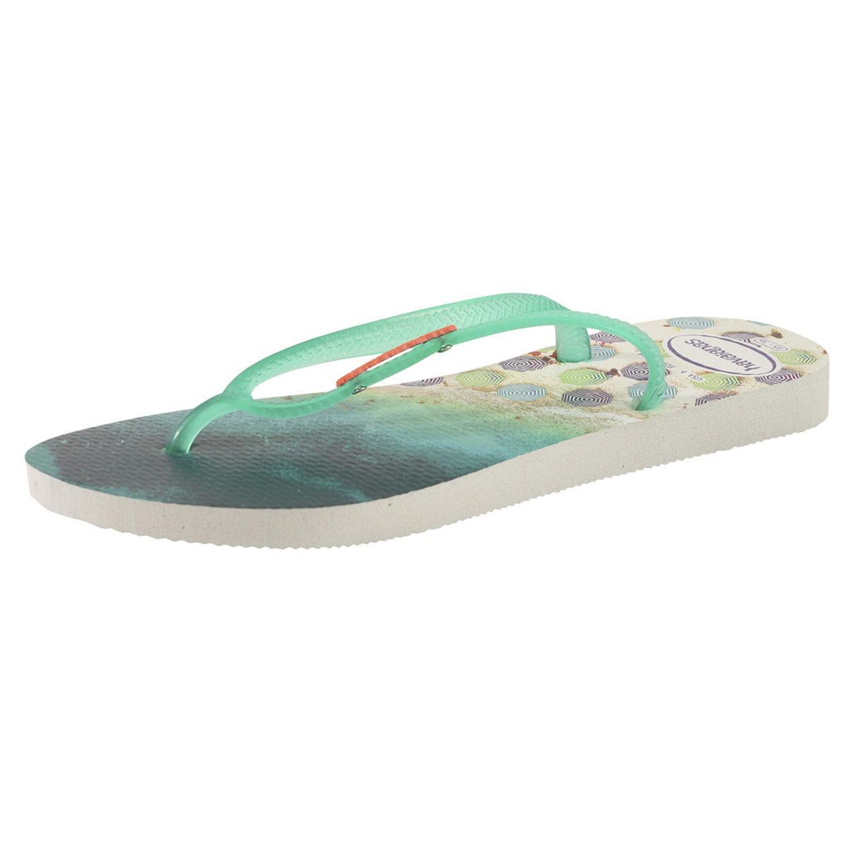 Image of Havainas Women's Slim Paisage Flip Flops Sandals Shoes - White/Mint Green - 7 8 B(M) US