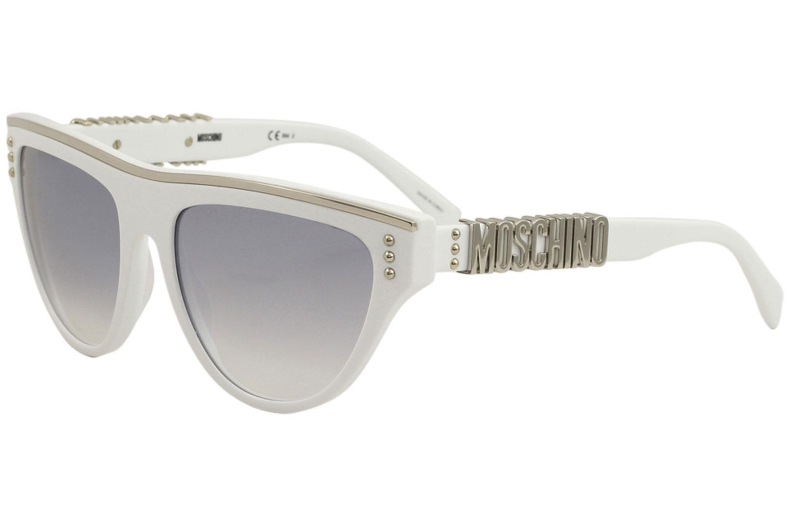 Image of Moschino Women's MOS002/S MOS/002/S Fashion Square Sunglasses - White/Grey Gradient Silver Mirror   VK6IC - Lens 56 Bridge 18 B 45.5 ED 63.1 Temple 135mm