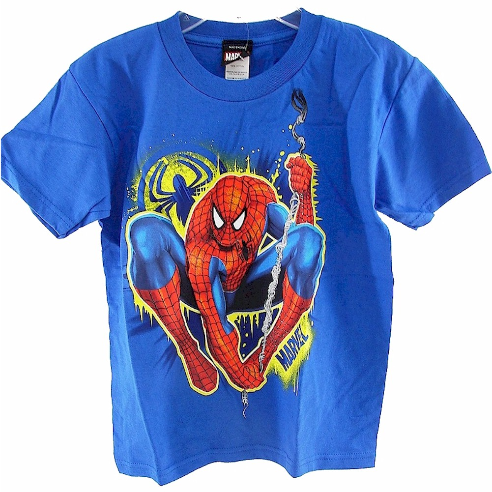 Image of Spider Man Boys Royal Blue 100% Cotton Juvy T Shirts Intrusion - none - Large