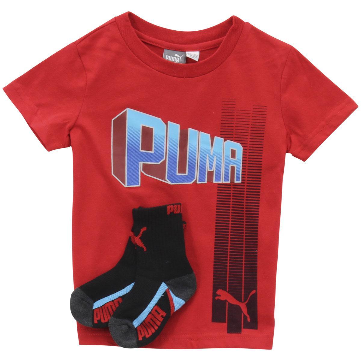 Image of Puma Little Boy's 2 Piece 3D Logo Short Sleeve T Shirt & Crew Socks Set - Red - 5