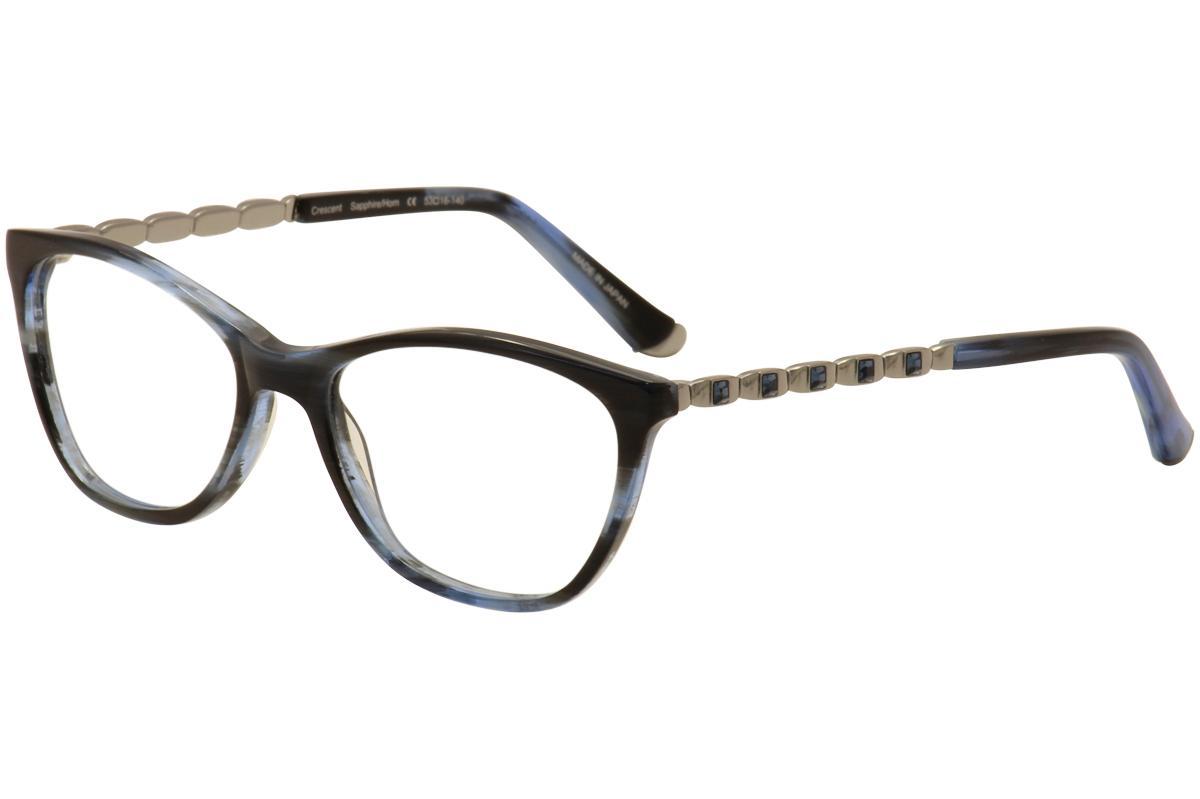 Image of Judith Leiber Couture Women's Crescent Eyeglasses Full Rim Optical Frame - Blue - Lens 53 Bridge 16 Temple 140mm