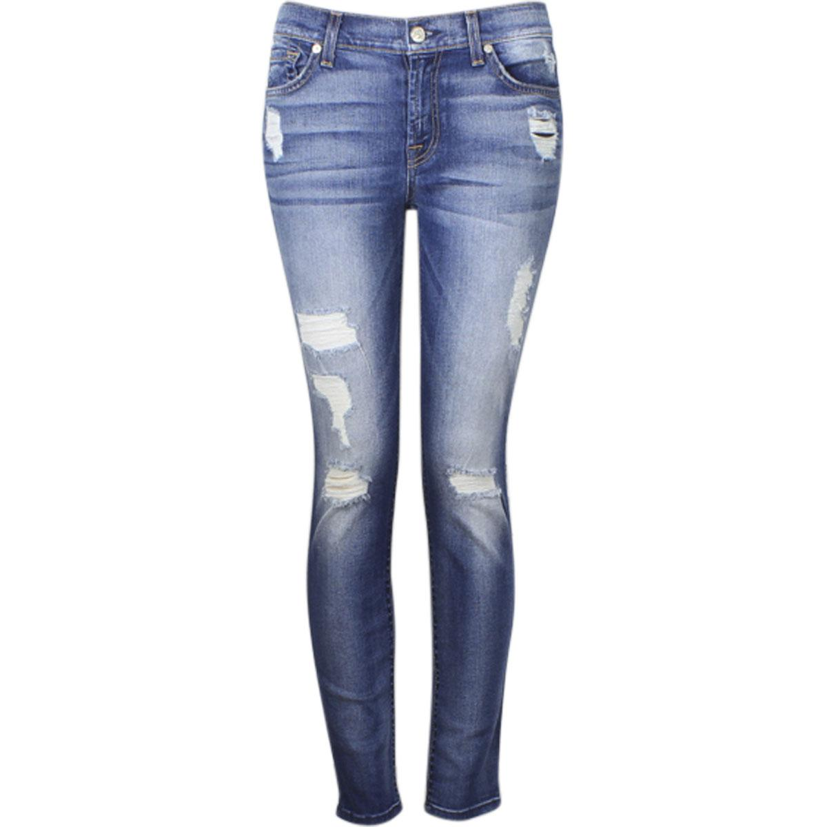 Image of 7 For All Mankind Women's The Ankle Skinny Short Inseam Jeans - Blue - 27 (3/4)