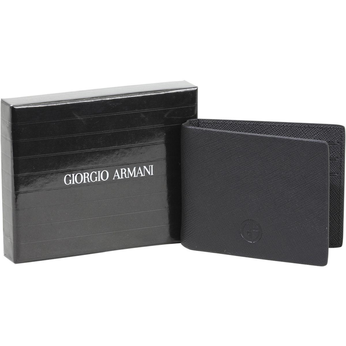 76540906dc4d Giorgio Armani Men s Genuine Saffiano Leather Bi-Fold Money Clip Wallet