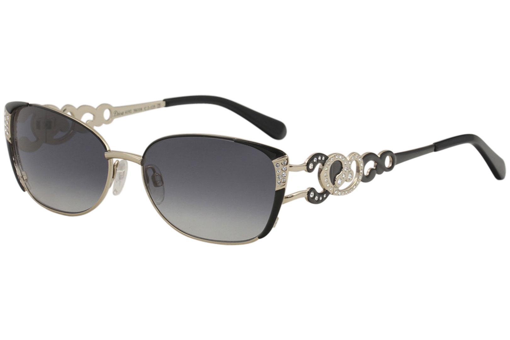 Image of Diva Women's 4192 Fashion Rectangle Sunglasses - Black Gold/Grey Gradient   02 - Lens 56 Bridge 16 Temple 125mm