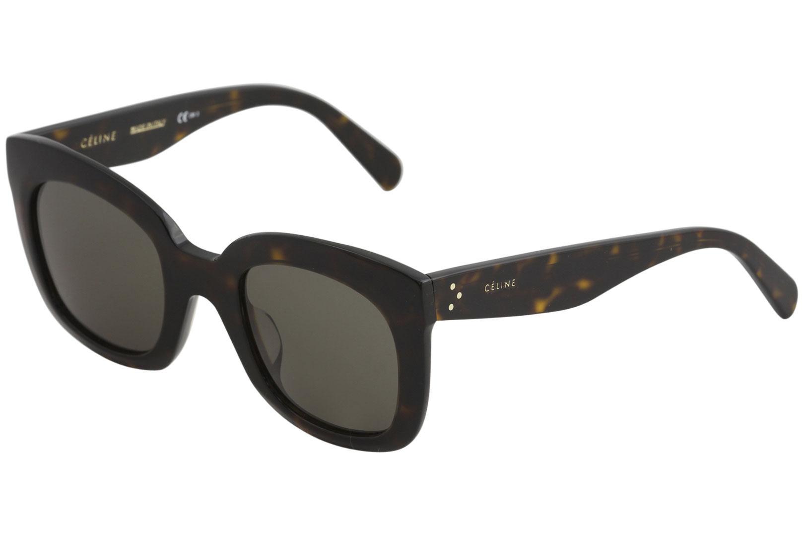 e7c34a2379b0 Details about Celine Women's CL 41385/F/S 086/70 Dark Havana Square  Sunglasses 51mm Asian Fit