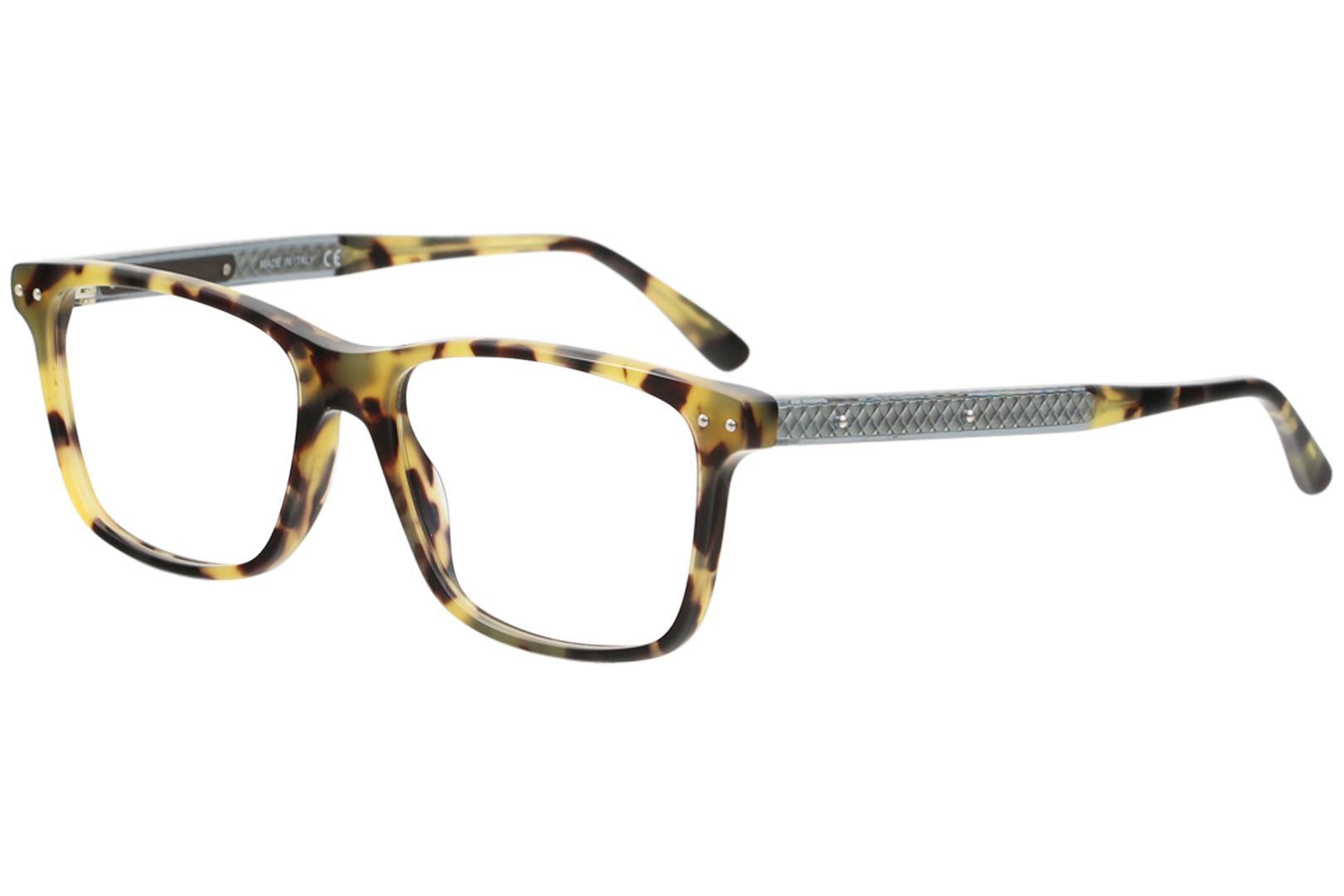 Image of Bottega Veneta Men's Eyeglasses BV0130O BV/0130O Full Rim Optical Frame - Havana/Green Transparent   010 - Lens 55 Bridge 17 Temple 150mm