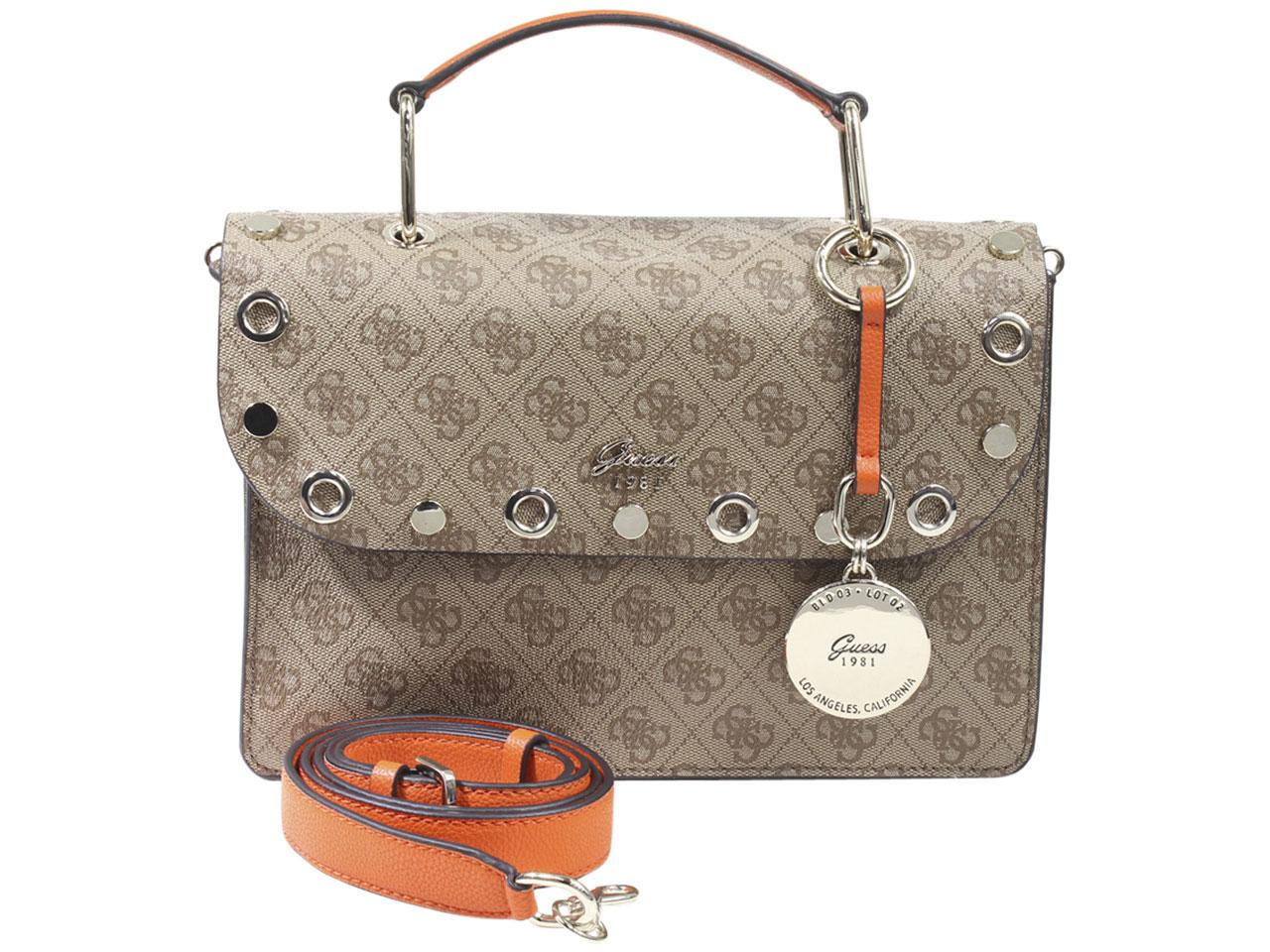 Guess Women s Jacqui Monogram Grommet Satchel Handbag 0dd203dd11f79