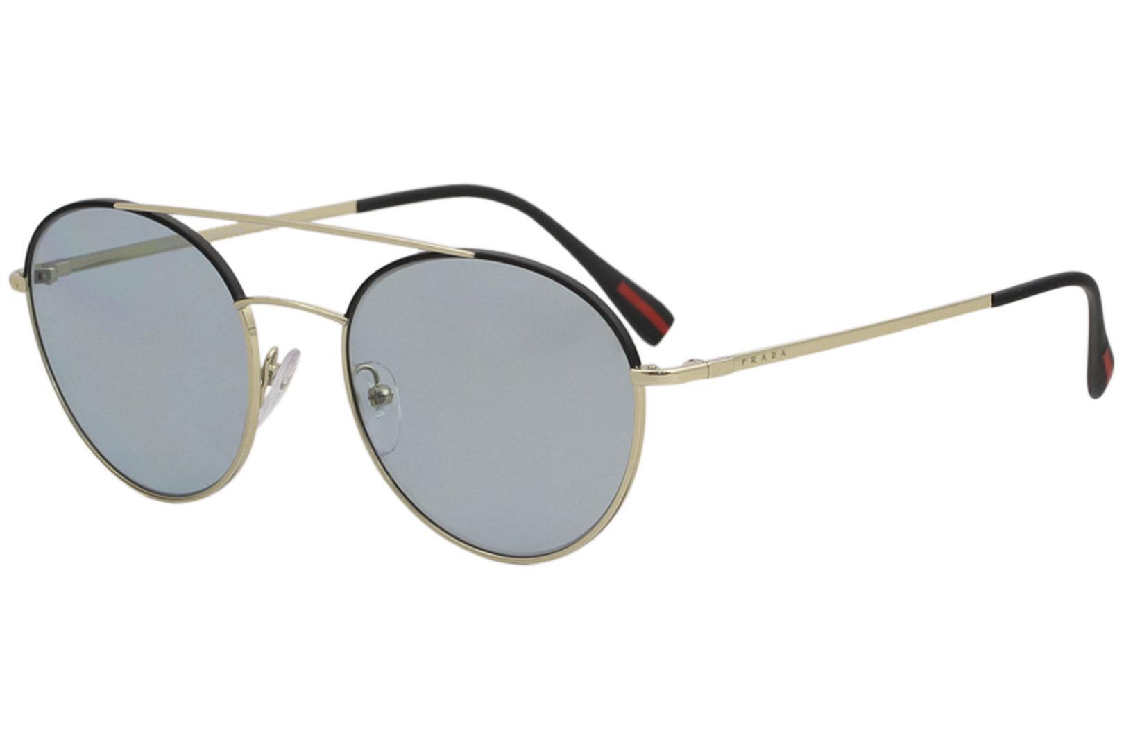 Image of Prada Linea Rossa Men's PS 51SS PS 51/SS Fashion Sunglasses - Pale Gold Black/Blue Gold Mirror   AAV/298 - Lens 54 Bridge 20 B 49.1 ED 56.8 Temple 140mm