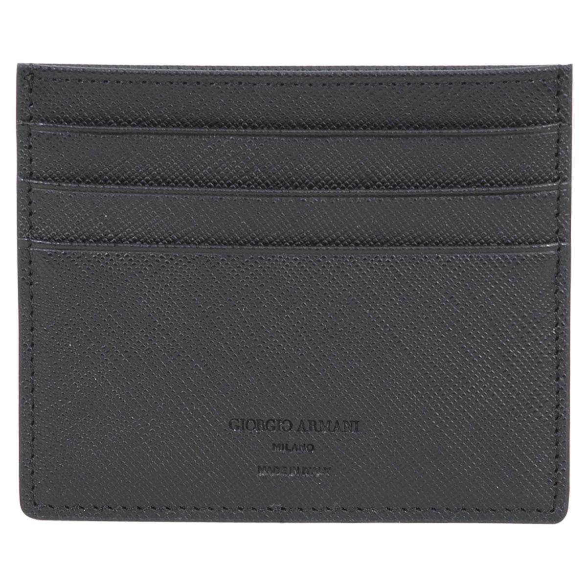 Giorgio Armani Men's Textured Genuine Leather Card Holder Wallet