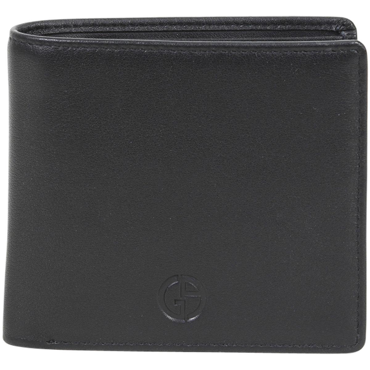 Image of Giorgio Armani Men's Genuine Leather Bi Fold Wallet - Black