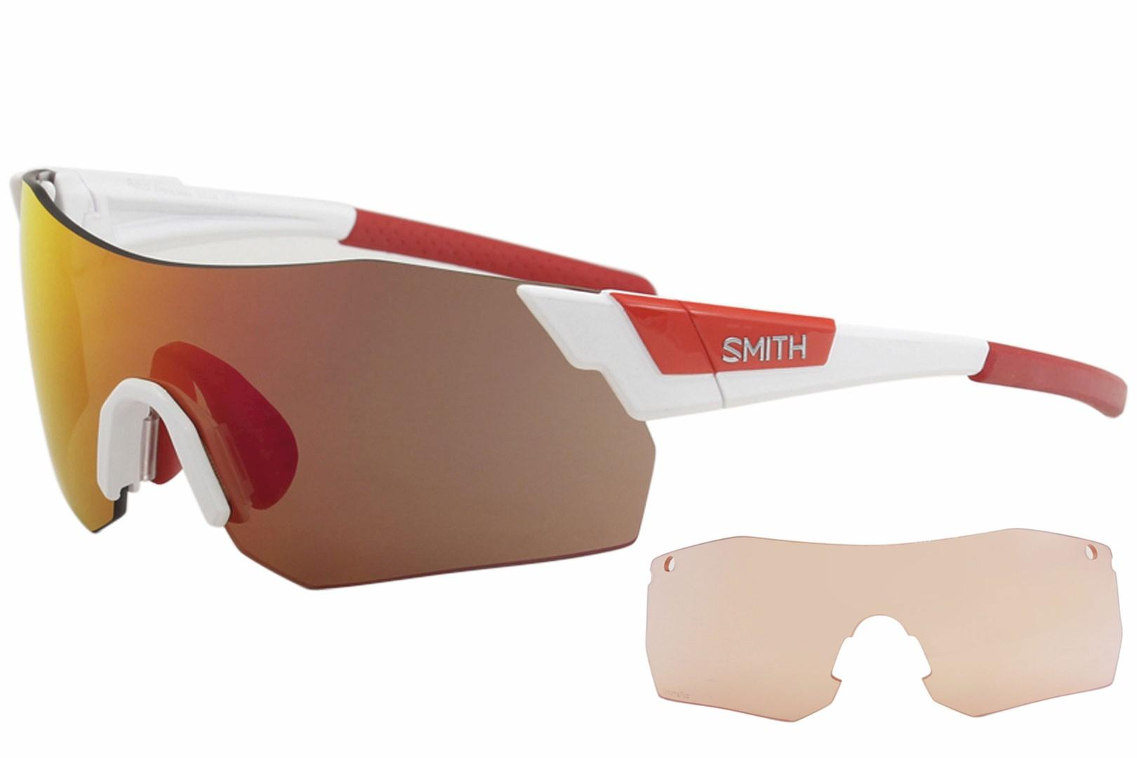Image of Smith Optics Pivlock Arena Max X6 Fashion Shield Sunglasses - White Red/Red Mirrored - Lens 130 Bridge 0 Temple 120mm