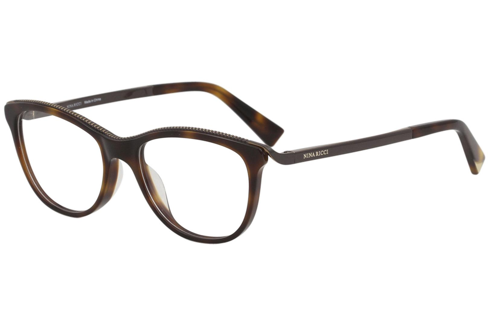 Image of Nina Ricci Eyeglasses VNR028 VNR/028 0752 Havana Full Rim Optical Frame 51mm - Dark Havana   0752 - Lens 51 Bridge 18 Temple 135mm
