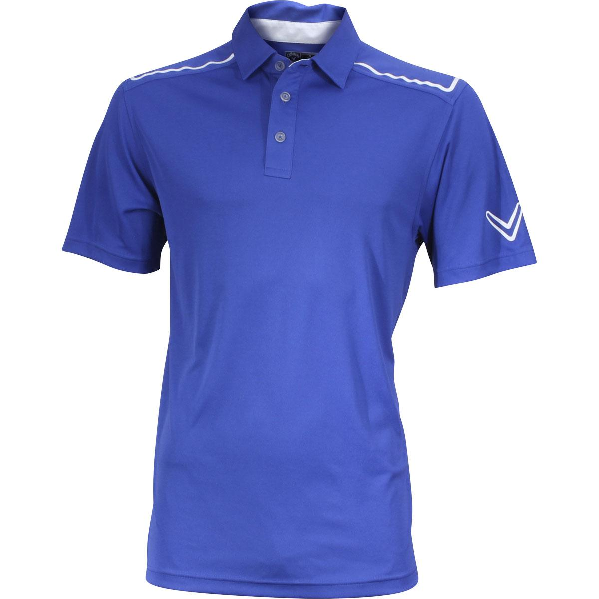 Image of Callaway Men's Solid Blocked Polo Short Sleeve Shirt - Deep Ultra Marine - Classic Fit