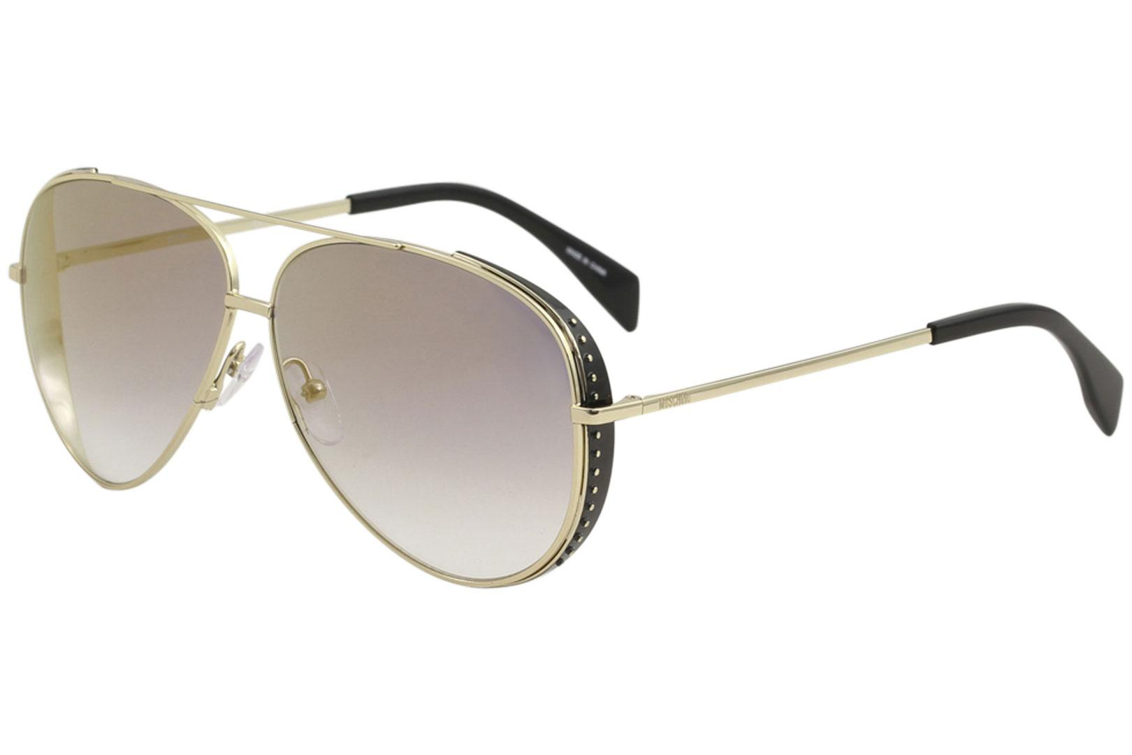 Image of Moschino Women's MOS007/S MOS/007/S Fashion Pilot Sunglasses - Gold/Grey Gradient Gold Mirror   J5GFQ - Lens 61 Bridge 10 B53 ED 68 Temple 140mm