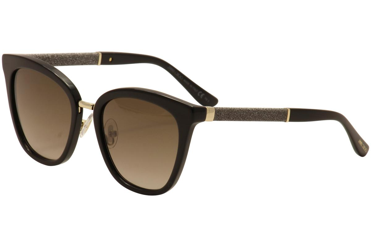 Image of Jimmy Choo Women's Fabry/S Fashion Cat Eye Sunglasses - Black/Gold/Glitter/Brown Gradient   FA3/J6 - Lens 53 Bridge 19 Temple 140mm