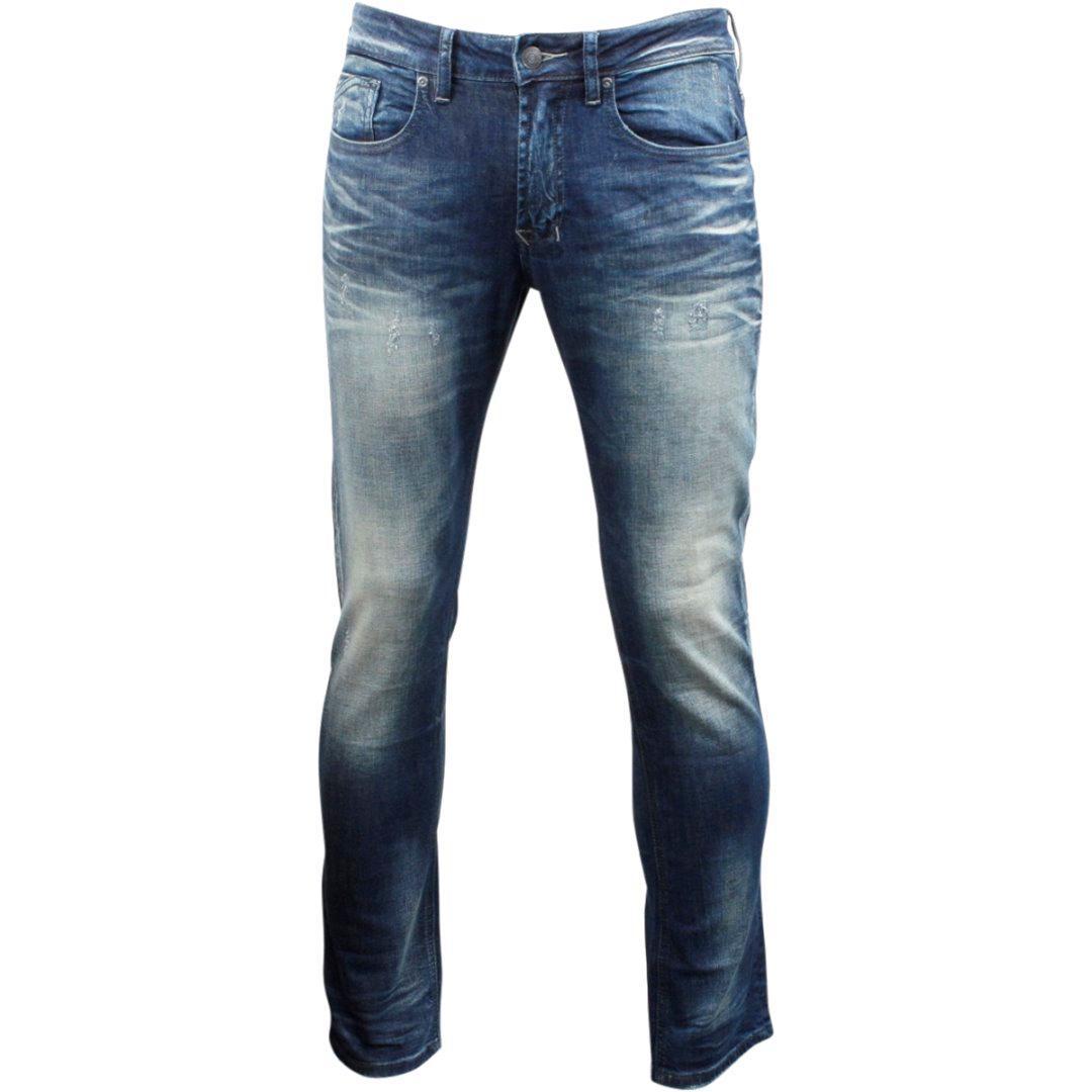 Image of Buffalo By David Bitton Men's Ash X Skinny Stretch Jeans - Whiskered & Sandblasted Indigo - 36x32