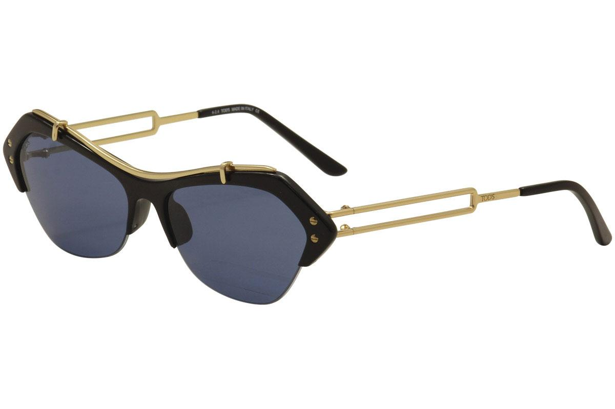 Image of Tod's Women's TO0166 TO/0166 Fashion Sunglasses - Black Gold/Navy   01V  - Lens 56 Bridge 15 Temple 135mm