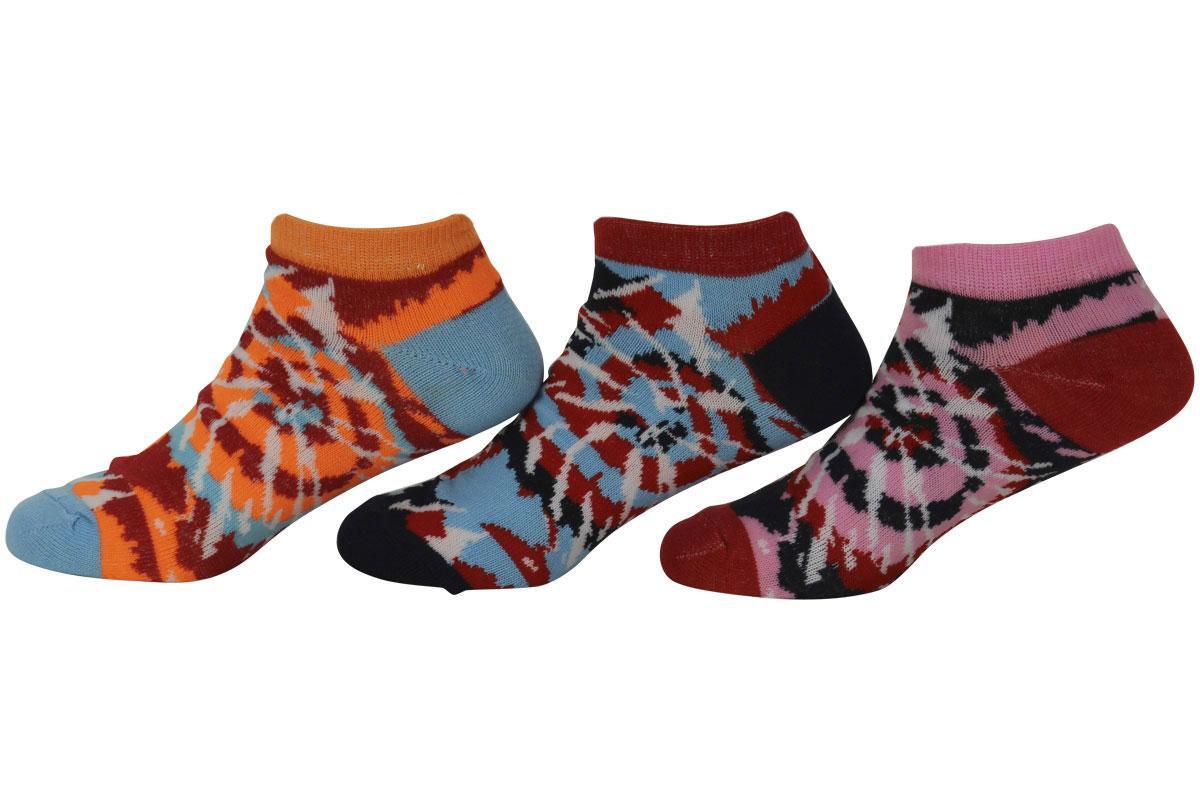Image of Jefferies Socks Little Girl's 6 Pairs Tie Dye Ankle Socks - Red - Small; Fits Shoe 9 1 (Little Kid)