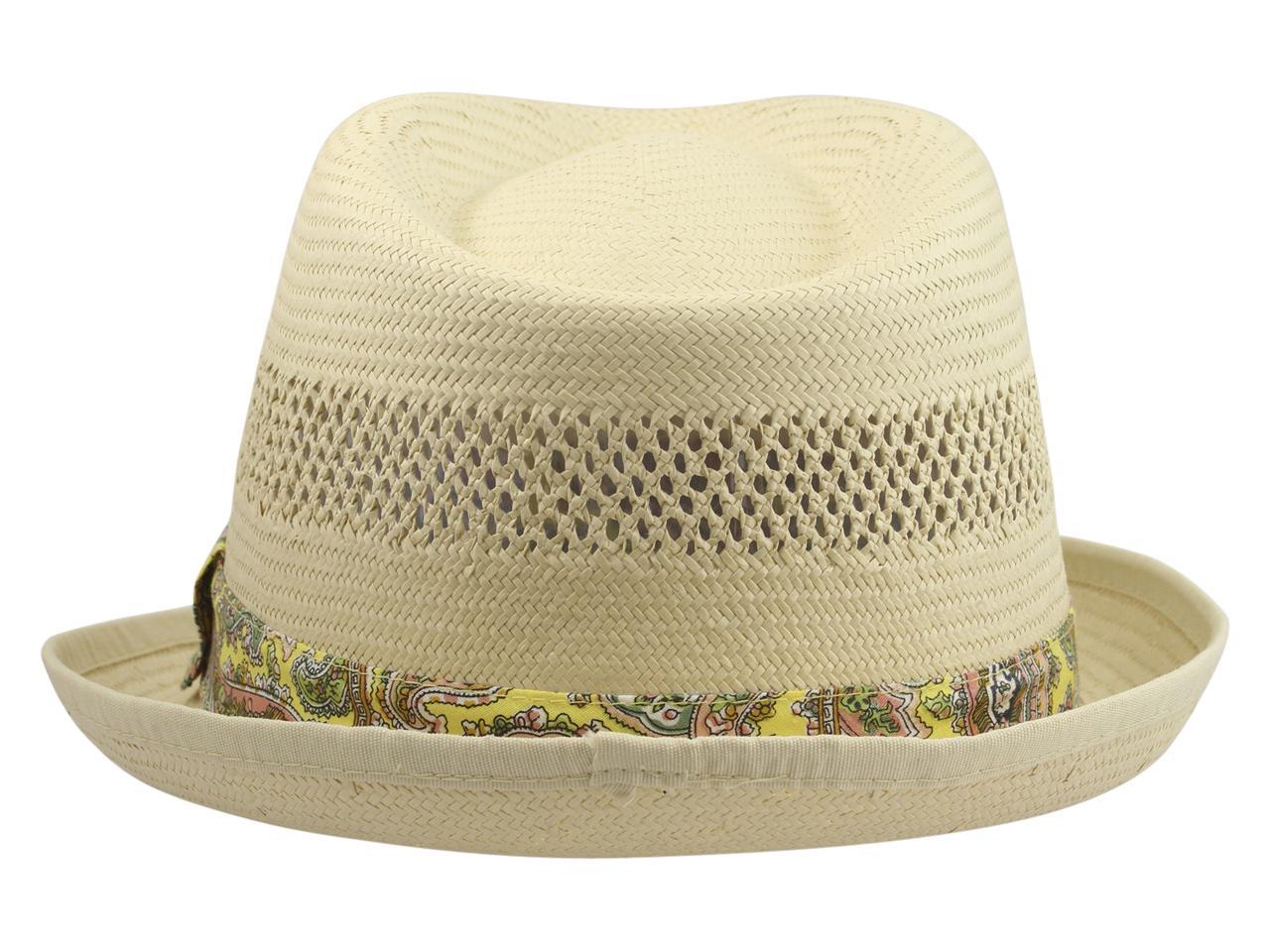 cc42762efbb63 Henschel Men s Paisley Trim Vented Toyo Straw Fedora Hat by Henschel. 1234