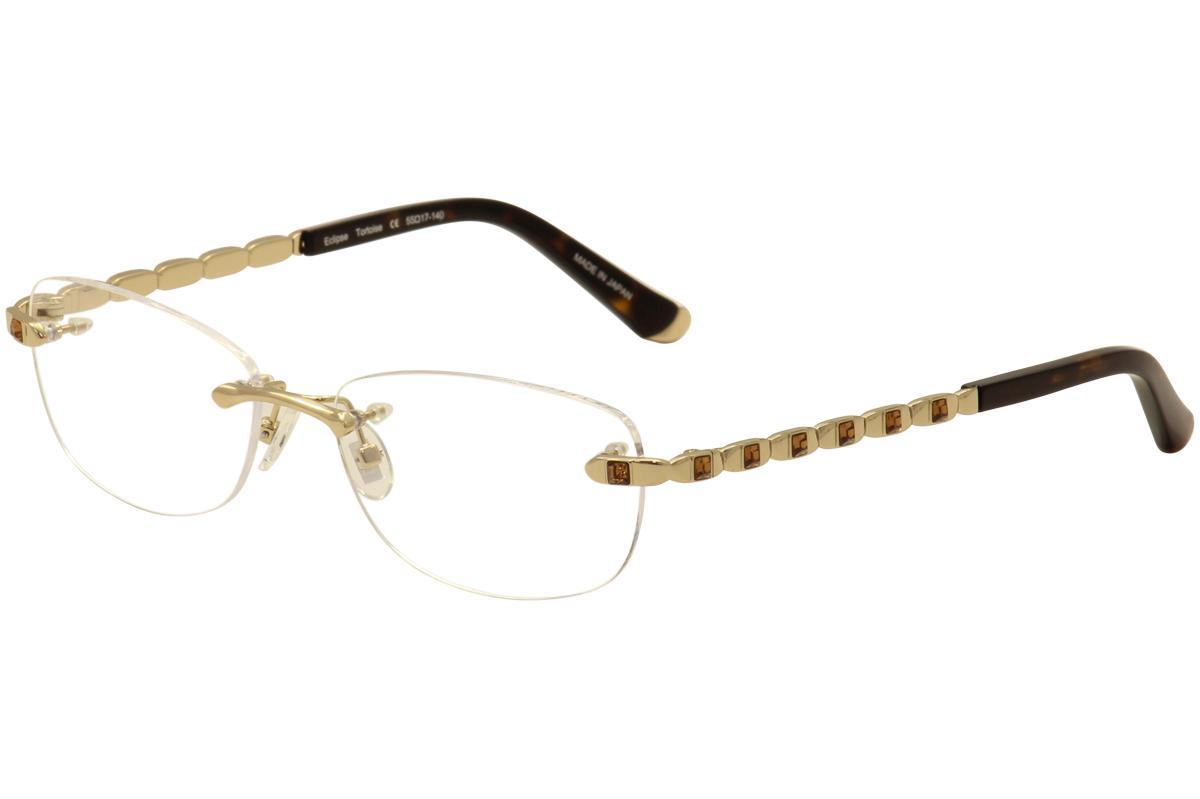 Image of Judith Leiber Couture Women's Eclipse Eyeglasses Rimless Optical Frame - Gold - Lens 55 Bridge 17 Temple 140mm