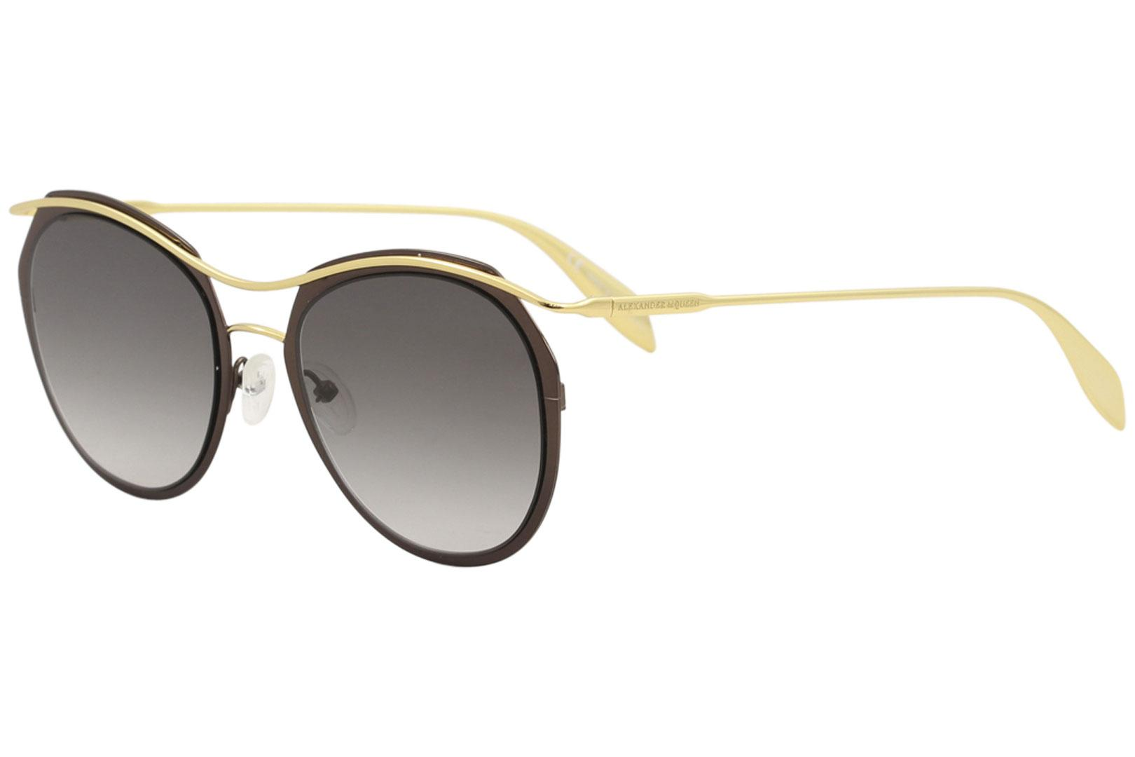 Image of Alexander McQueen Edge AM0116S AM/0116/S 001 Brown/Gold Pilot Sunglasses 54mm - Brown Gold/GrayGradient   001 - Lens 54 Bridge 21 Temple 145mm